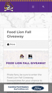 Food Lion – Homegater – Win includes  One (1) $200 Food Lion Gift Card One (1) Yeti Cooler One (1) BBQ Set The ARV of each Grand Prize is $546.00.