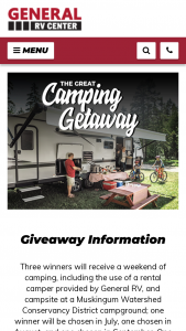 General Rv – Great Camping Getaway – Win two nights of camping in a camper provided by General RV valued at $690 and two nights of camping at an MWCD campground valued at $130.