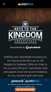 "Golfnow And Nbcuniversal Media – Golfpass Keys To The Kingdom – Win will consist of a trip for Winner and one (1) guest (""Guest"") to Carlsbad California (""Trip"")."
