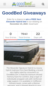 Goodbed – Nest Bedding Alexander Signature Hybrid Mattress Giveaway – Win one FREE Nest Bedding Alexander Signature Hybrid mattress in winner's preferred softness level and size (value of $1499 in Queen or $1699 in King).