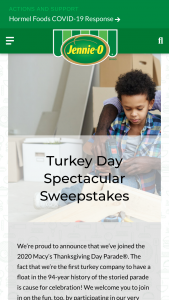 Hormel Jennie-O – Turkey Day Spectacular – Win runner up prize