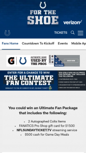 Indianapolis Colts And Directv – Ultimate Fan – Win an Ultimate Fan Package that includes a $1500.00 FANATICS Pro Shop Gift Card