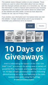 Intel Gaming – 10 Days Of Giveaways Sweepstakes