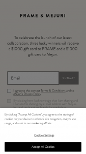 Mejuri – Frame & Mejuri – Win a $1000 gift card to FRAME and a $1000 gift card to Mejuri