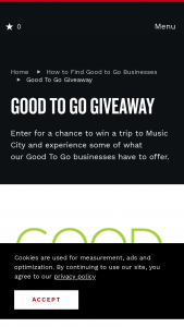 Nashville Convention & Visitors Corp – Good To Go Giveaway Sweepstakes