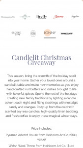 One Mercantile – Candlelit Christmas Giveaway Sweepstakes