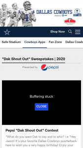 Pepsi – Dallas Cowboys 2020 Dak Shout Out Sweepstakes