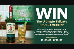 Pernod Ricard Jameson – USA Fall – Win Total Winner) – Jameson Tailgate Prize Pack