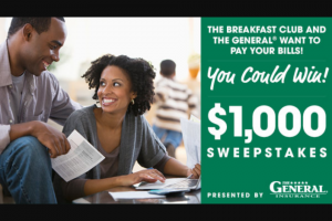 "Premiere Networks – The Breakfast Club's $1000 – Win check in the amount of one thousand dollars ($1000.00) made payable to the Winner (Approximate Retail Value (""ARV"") $1000.00)."