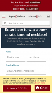 Rogers & Hollands – Diamond Necklace Sweepstakes