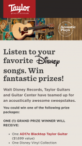 Taylor Guitars – Acoustic Plays Sweepstakes