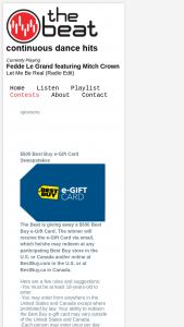 The Beat – $500 Best Buy E-Gift Card Sweepstakes