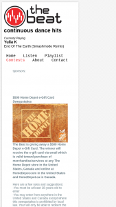 The Beat – $500 Home Depot E-Gift Card Sweepstakes