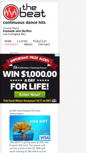 The Beat – $1000 VISA Prepaid Gift Card Sweepstakes