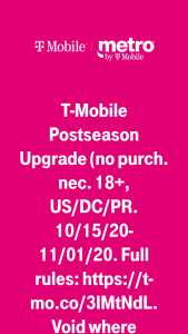 T-Mobile – Post Season Upgrade Sweepstakes