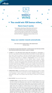 VISA 2020 Alaska Airlines – Weekly Wins – Win Airlines Mileage Plan program miles