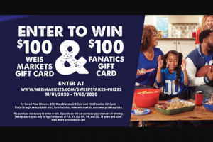 Weis Markets – General Mills And Weis Markets Tailgate Nation Sweepstakes