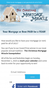 """Aptivada – National Home For The Holidays – Win be the lesser of $15000 or the value of the winning entrant's (the """"Winner's"""") annual rent or mortgage payments for one year"""