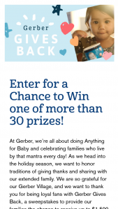Gerber Products – Gerber Gives Back Giveaway Sweepstakes