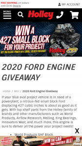 Holley – 2020 Holley Days Ford Engine – Win one F427-SS-C2 Ford Small Block Stroker Crate Engine