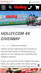 Holley – 4k Giveaway – Win code for $4000.00.