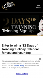 "Mars Petcare – Cesar 12 Days Of Twinning  – Win a prize of one (1) ""12 Days of Twinning"" advent calendar valued at one hundred and thirty dollars ($130) in the Sweepstakes and one year's supply of CESAR® pet food (Grand Prize)."