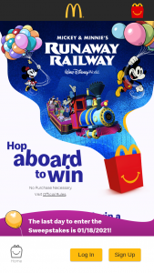 Mcdonald's – Hop Aboard To Win – Win vacation for the winner and three guests to Walt Disney World® Resort near Orlando Florida