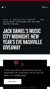 Nashville's Convention & Visitors Corp – New Year's Eve In Nashville Giveaway Sweepstakes
