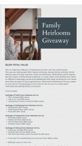 One Mercantile – Family Heirlooms Giveaway Sweepstakes