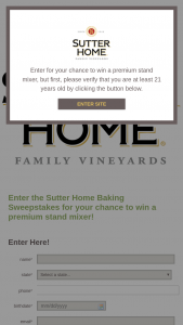 Sutter Home – Baking – Win a premium stand mixer valued at $292.75 each