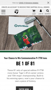 Taylormade – Tiger Woods Commemorative P7tw Irons  – Win of the Commemorative Irons
