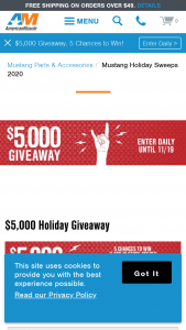 Turn 5 American Muscle – $5000 Holiday Sweepstakes