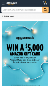 Amazon – Listen To Win $5k – Win one (1) $5000 Amazoncom Gift Card