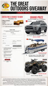 Bass Pro Shops And Cabela's – The Great Outdoors Giveaway – Win (open only to US residents) one 2021 Toyota Trail Special Edition 4×4 with a MSRP of US$38315.
