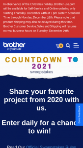 Brother – Countdown To 2021 – Win one of the three (3) Prizes consisting of $2021 USD