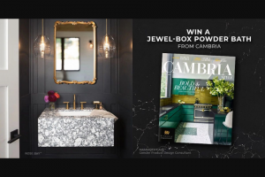 """Cambria – Style Jewel-Box Powder Bath Product Giveaway – Win the following products displayed in the Cambria Style® Magazine referencing the  one (1) Cambria Rose BayTM floating wall mount vanity (the """"Vanity"""") two (2) Hennepin Made pendant lights"""