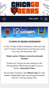 Chicago Bears – 12 Days Of Bears Giveaways Sweepstakes