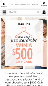 Christopher & Banks – Win A Wardrobe – Win a $500 Christopher & Banks gift card