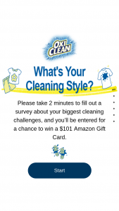 Church & Dwight Oxiclean – Survey – Win one $101.00 Amazon gift card