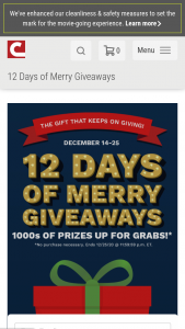 Cinemark – 12 Days Of Merry Giveaways – Win 14th Prizes