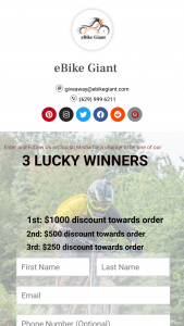 E-Bike Giant – Shopping Spree – Win a $1000 USD shopping spree