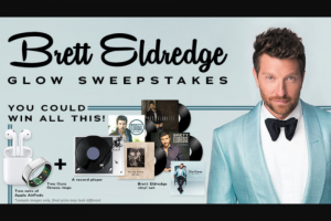 Iheart – Brett Eldredge Glow – Win Two Oura rings ARV $598.00 Two sets of Apple AirPods with charging case ARV $319.98 One Brett Eldredge vinyl bundle ARV $88.00 A record player ARV $100.00.