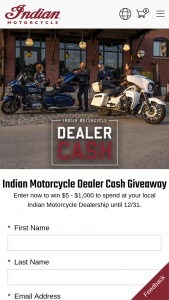 Indian Motorcycle Polaris – Holiday Sales Event Dealer Cash Sweepstakes