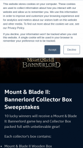 Intel – Mount & Blade Ii Bannerlord Collector Box – Win a Mount & Blade II Bannerlord game key and Collector Box (ARV