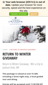Jackson Hole – Return To Winter Giveaway – Win – Lodging Offer –3 nights/4 days Lodging