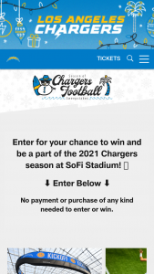 Los Angeles Chargers – Season Of Chargers Football Sweepstakes