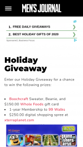 Men's Journal – Boochcraft's Holiday Giveaway – Win Boochcraft sweater