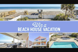 Myrtle Beach Area Convention & Visitors Bureau – Beach House Vacation Giveaway – Win One A one-week (7 days/7 consecutive nights from Saturday-Saturday) rental of a beach home subject to availability
