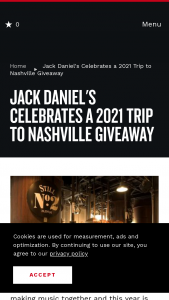 Nashville's Convention & Visitors Corp – Jack Daniel's Celebrates A 2021 Trip To Nashville Giveaway Sweepstakes