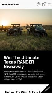 Polaris – Ultimate Texas Ranger Giveaway – Win be a custom-built Polaris® RANGER CREW XP 1000 Texas Edition with an enclosed cab and HVAC